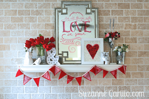 valentine holiday mantel decorating ideas