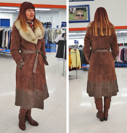 vintage brown suede leather fur long winter coat