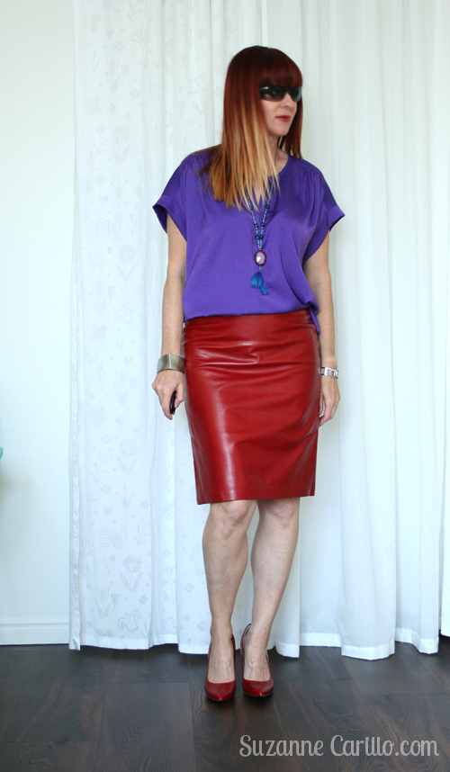 how to wear red leather over 40