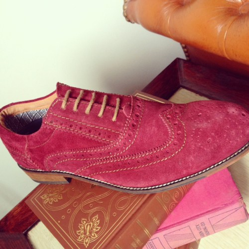 mens' red suede brogues