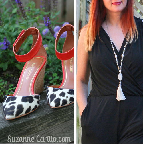 black jumpsuit leopard shoes handmade tassle necklace