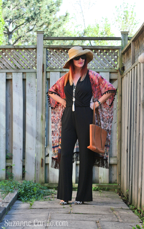 black jumpsuit styled boho style over 40