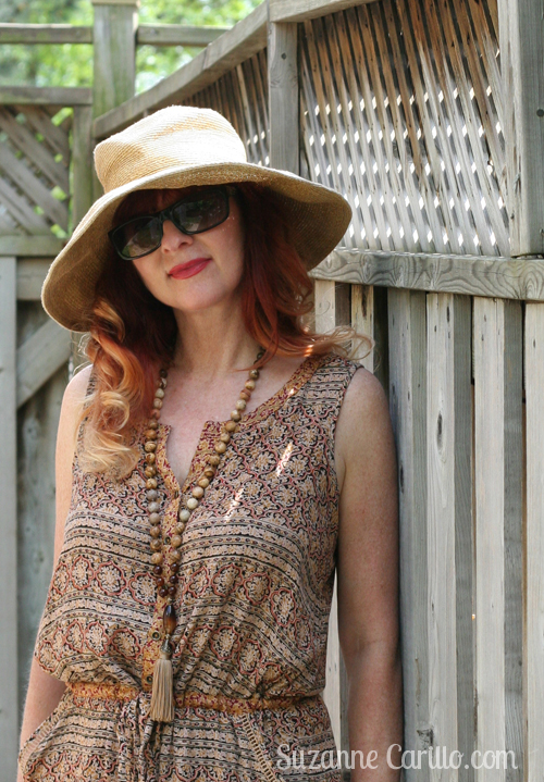 brown patterned anthropologie jumpsuit