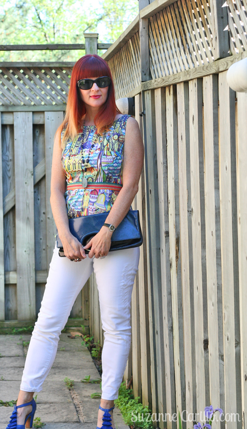 How to wear white jeans for summer over 40 style. Cityscape Anthropologie peplum top.