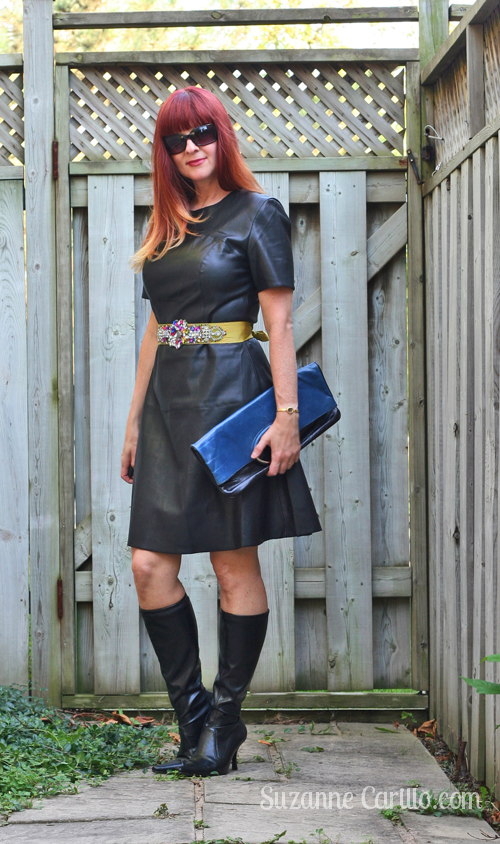 how to wear a leather dress for fall over 40 style
