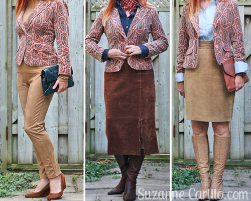 how to wear a paisley velvet blazer 3 ways