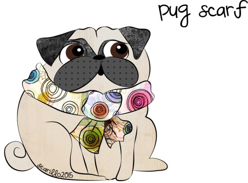 pug wearing a scarf by suzanne carillo