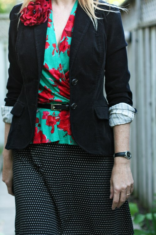 black red and polka dots anthropologie black velvet blazer suzanne carillo style files