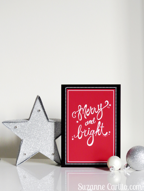 merry and bright printable christmas card