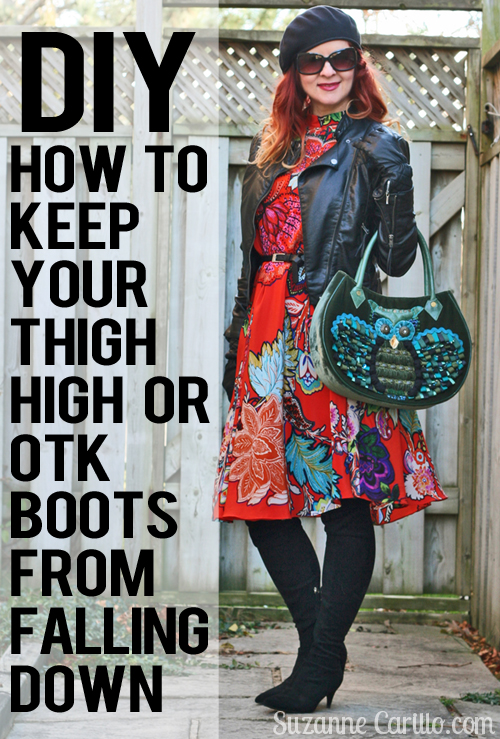 DIY solution to keep thigh high boots from falling down when you are wearing a skirt or a dress