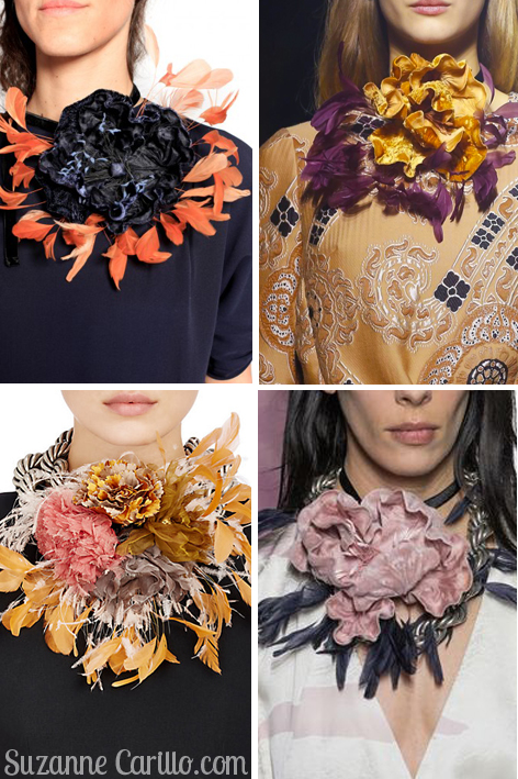 dries van noten feather floral necklaces
