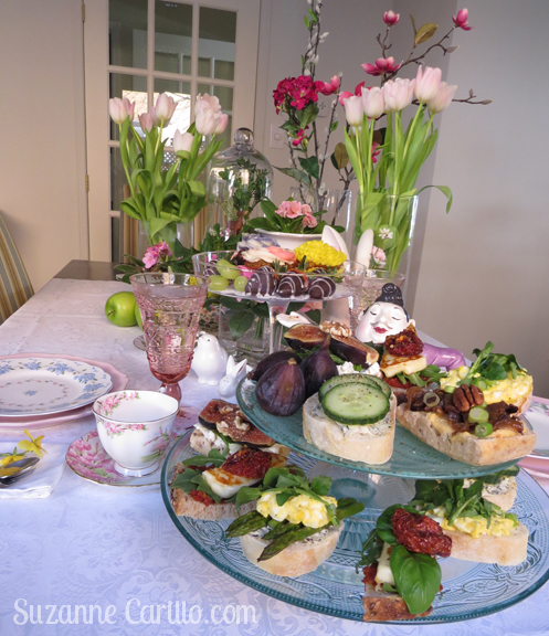 high tea table setting