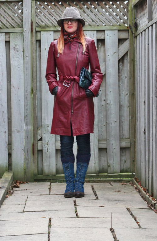 red danier leather coat