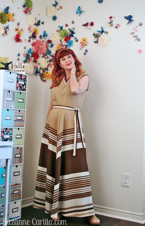 1970s vintage chevron patterned maxi dress suzanne carillo