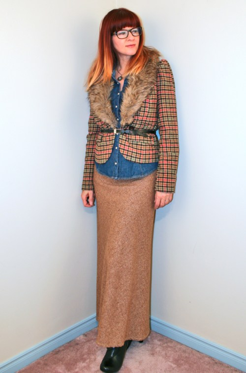 fur trim blazer maxi tweed skirt