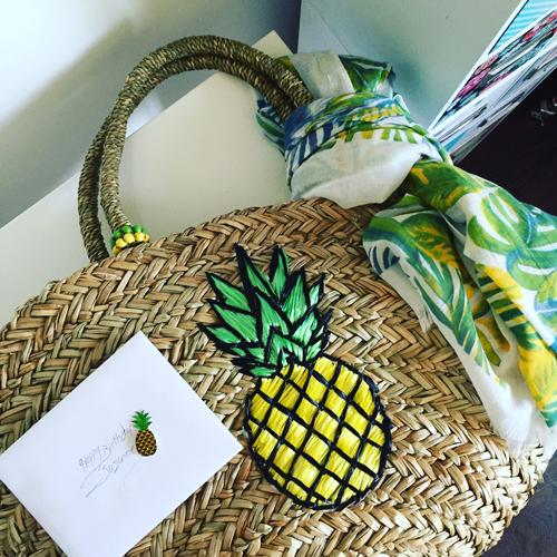 pineapple wicker tote