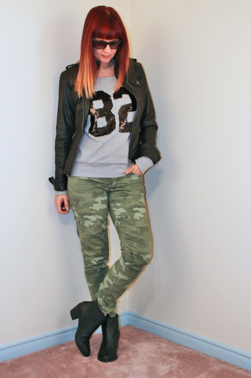 gap camo pants black leather jacket