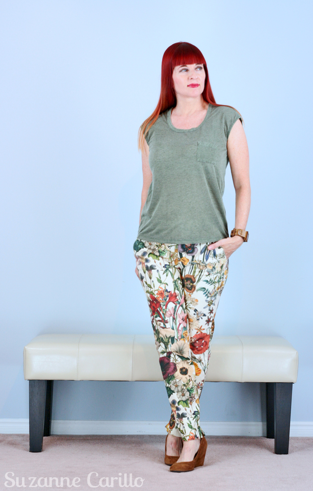 floral pants for fall suzanne carillo style for women over 40
