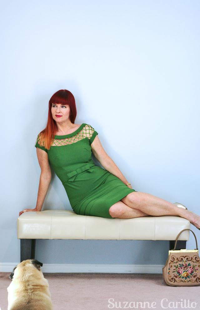 green vintage dress suzanne carillo