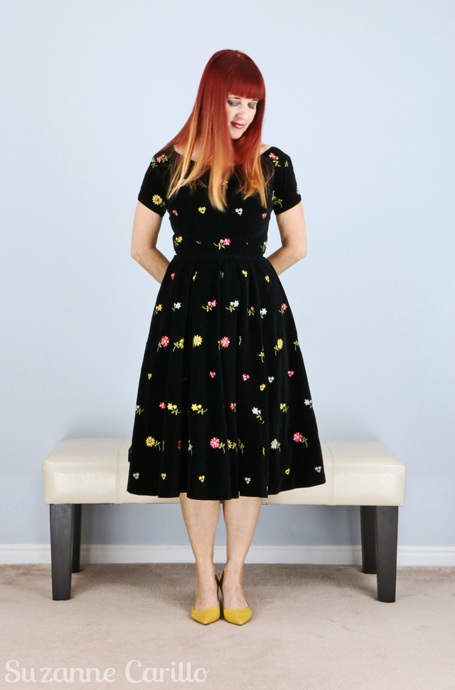 Vintage by Suzanne Toronto Vintage Clothing show black velvet 1950s vintage dress