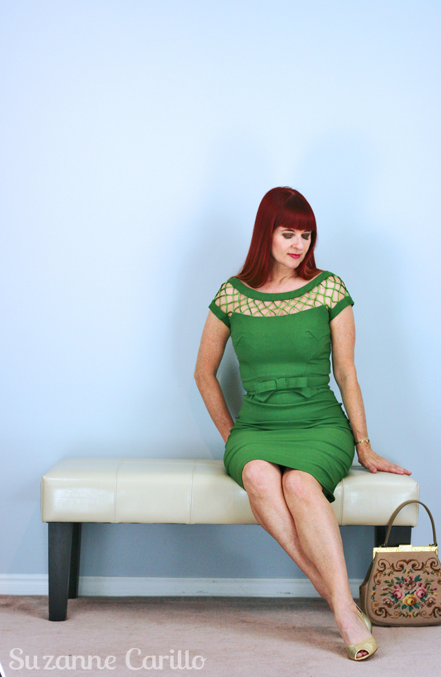 vintage inspired tatyana dress in green suzanne carillo style over 40