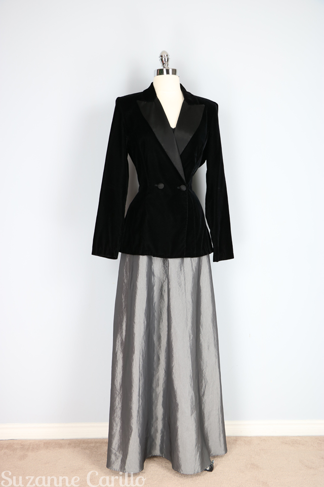 black velvet tuxedo jacket with metallic maxi skirt holiday outfit ideas for women over 40 Suzanne Carillo