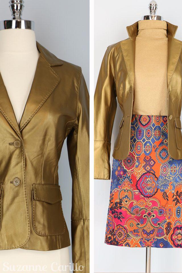 Vintage gold leather blazer for sale VintagebySuzanne on Etsy