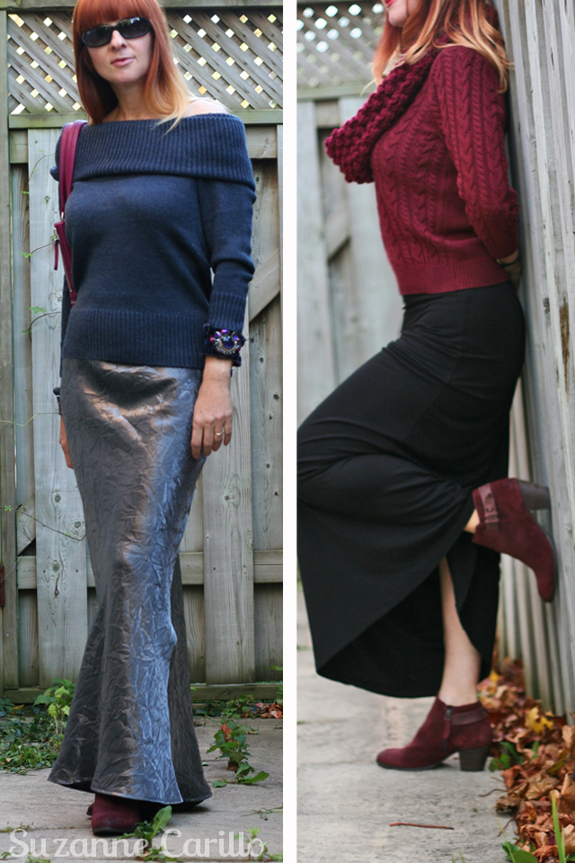 how to wear a maxi skirt with a sweater for fall suzanne carillo style for women over 40
