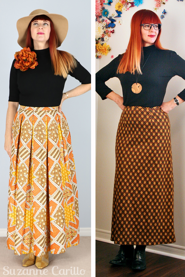 how to wear a vintage maxi skirt over 40 suzanne carillo style