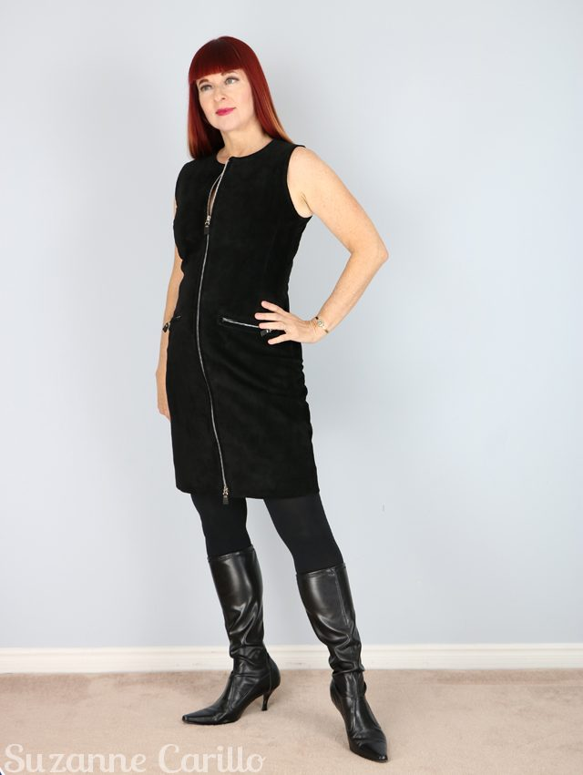 how to wear a vintage black suede zipper dress over 40 suzanne carillo