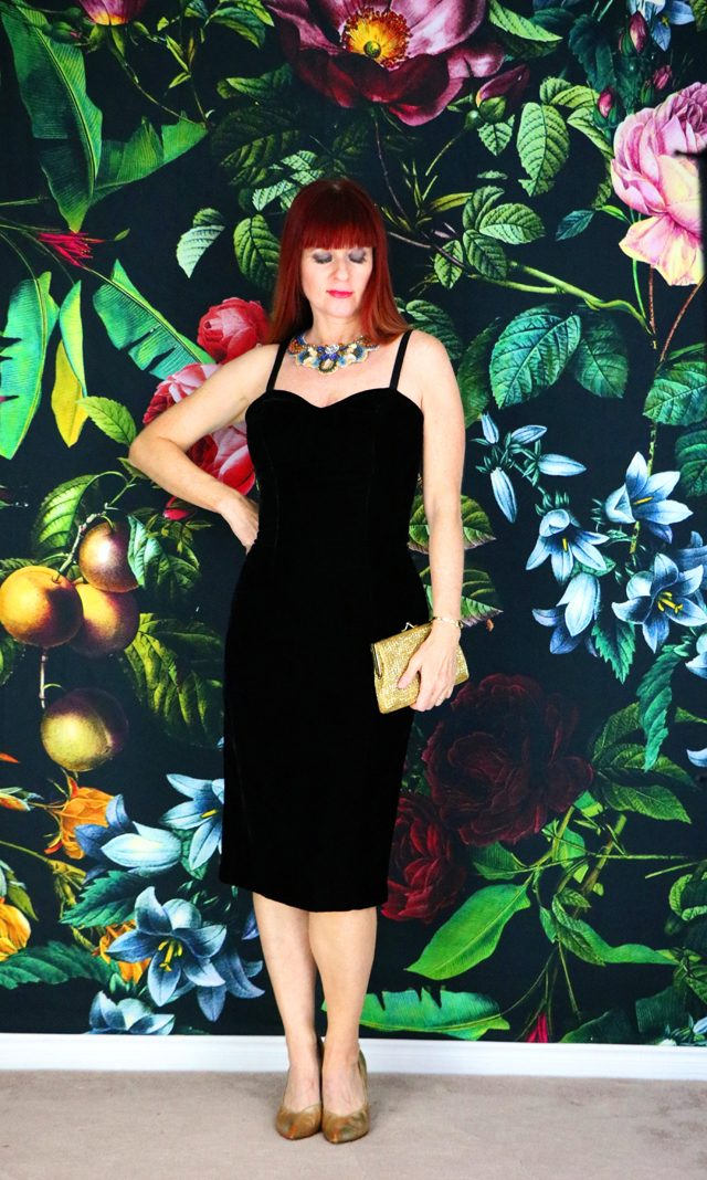 Vintage black velvet wiggle dress for sale on etsy Vintage By Suzanne