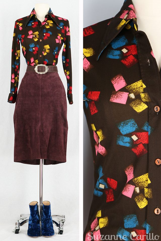 burgundy suede skirt graphic 1970s top for sale vintagebysuzanne on etsy