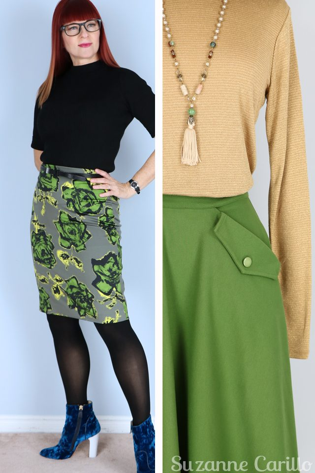 Friday fresh vintage picks for women over 40 that love vintage style and quality. Green rose skirt green vintage style circle skirt for sale vintagebysuzanne on etsy