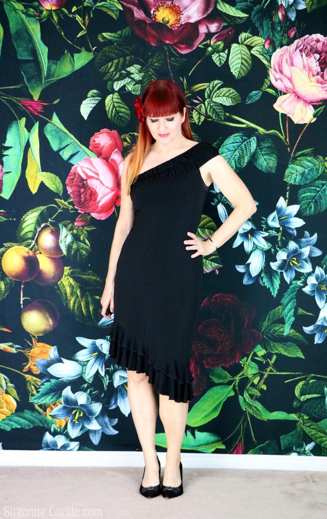 little black dance dress suzanne carillo style for women over 40