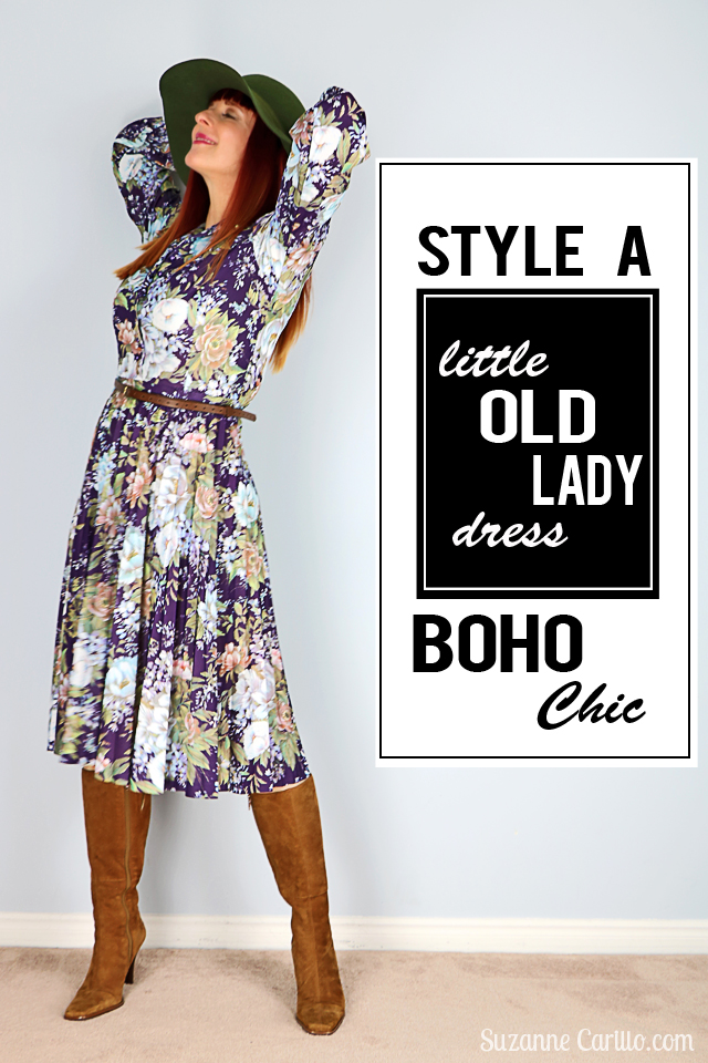 Style a little old lady dress boho chic vintage fashion for women over 40 Suzanne Carillo