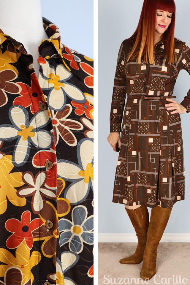 vintage brown day dress vintage floral top for sale vintagebysuzanne on etsy