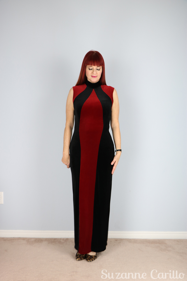 vintage red and black body con maxi dress for sale vintagebysuzanne on etsy buy now