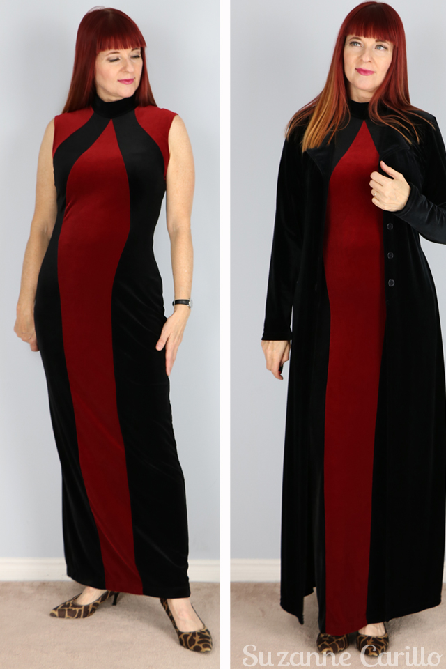 what to wear for christmas red and black velvet maxi dress