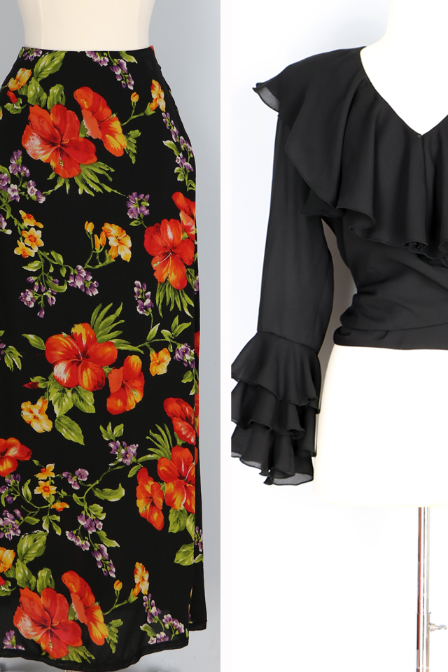 vintage silk floral midi skirt vintge black ruffle sleeve blouse for sale