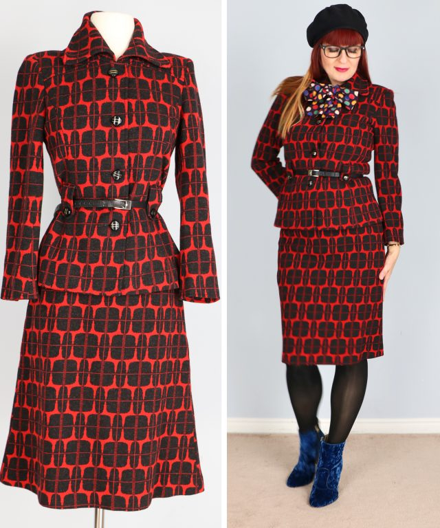 red black patterned 1960s suit for sale buy now vintagebysuzanne on etsy