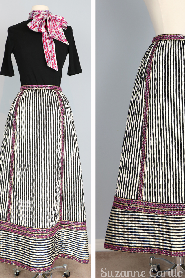 vintage striped maxi skirt for sale size small black and white