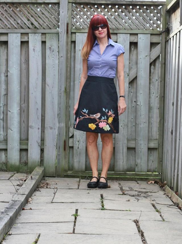 anthropologie bird skirt H&M gingham shirt