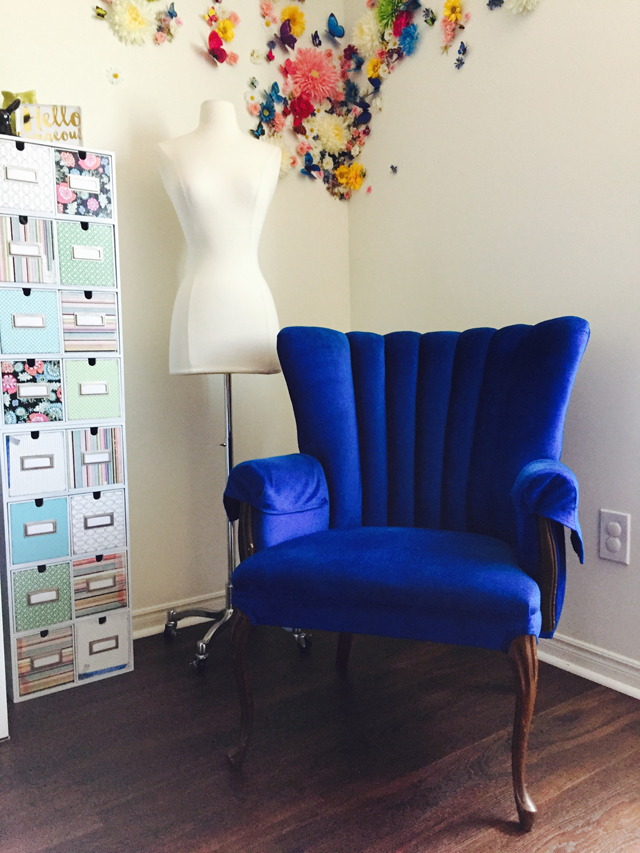 blue velvet vintage chair