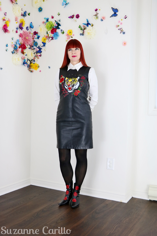 embroidered leather dress DIY by suzanne carillo