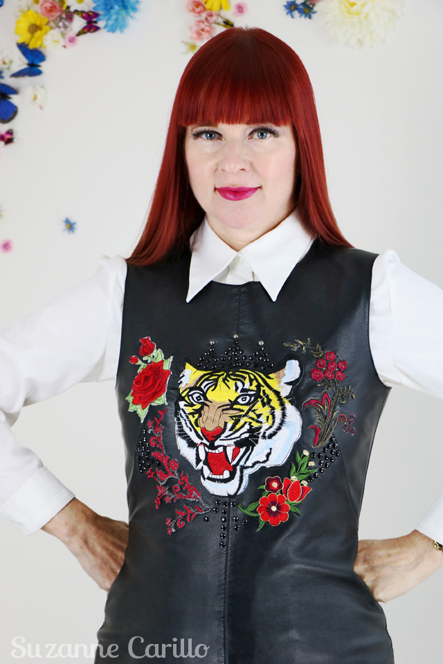 embroidered leather shift dress DIY by suzanne carillo over 40 style for the uncommon woman