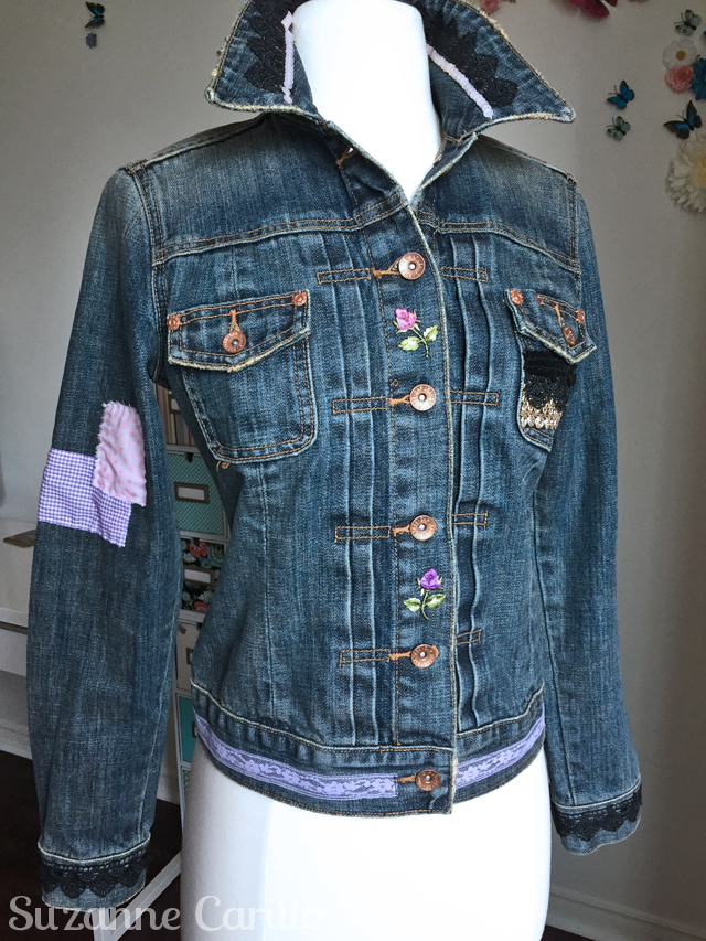 turn a jean jacket into wearable art rylee lion jacket front
