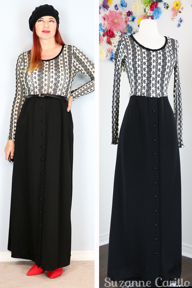 1970s black white vintage maxi dress for sale