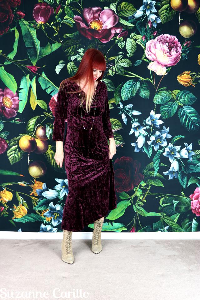 burgundy velvet midi dress suzanne carillo