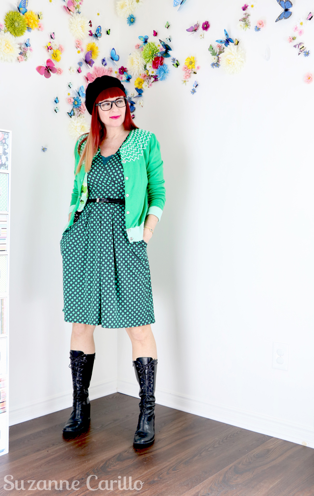 Black vintage lace up boots green anthropologie cardigan karina dress Karina dresses made in USA sm