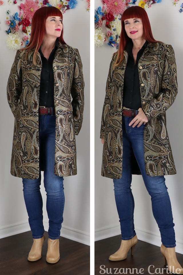 Vintage Fall Coats paisley long blazer for fall suzanne carillo
